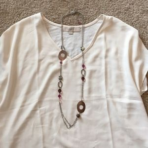 Lia Sophia Silver Long Necklace with Brown Shells